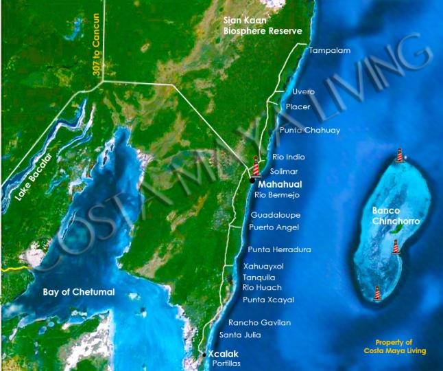 Costa Maya map, includes Bacalar, Chetumal. Mahahaul, and Xcalak.