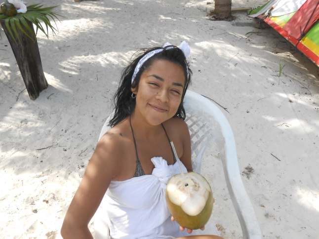 Denisse relaxing after snorkeling