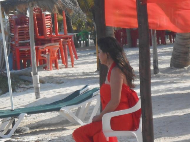 Victoria Ruffo relaxing during shooting.