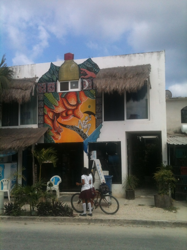 Hostel Mahahual, or Fernando's, right in town, right off beach.