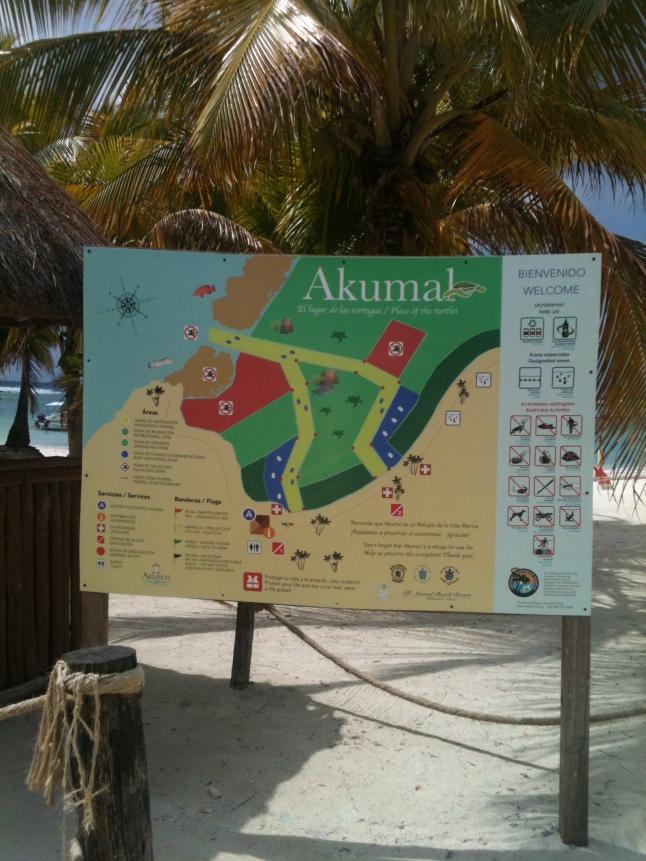 Akumal beach sign.