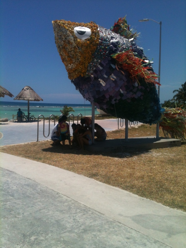 """""""El Pez"""" fish sculpture out of plastic bottles off of Mahahual. beaches, done by Sabrina Coco."""