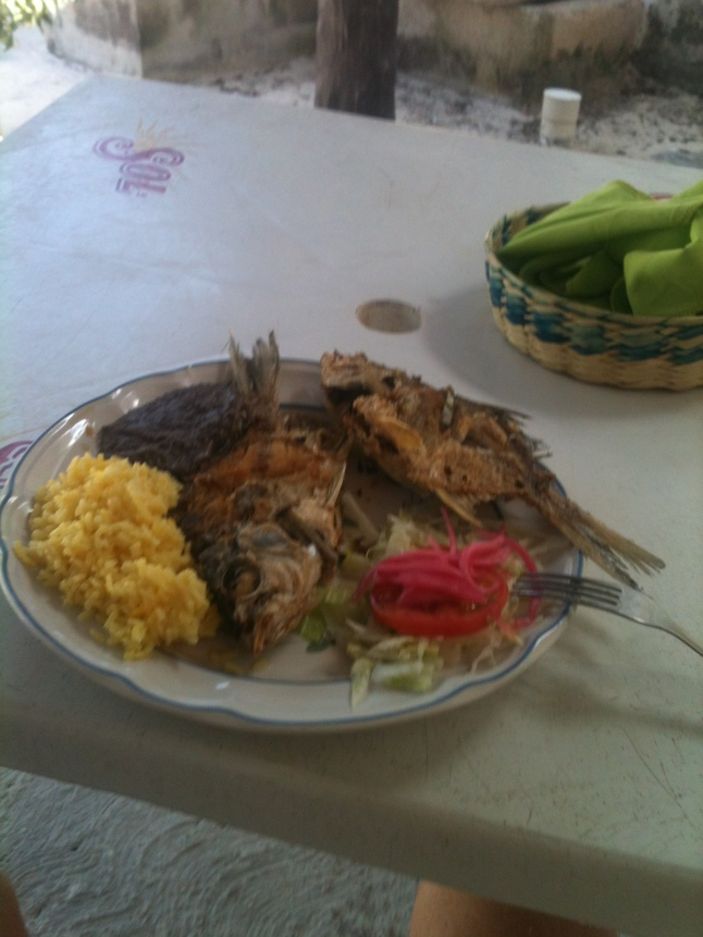 Fresh fish for 50 pesos.  Woman on malecon makes my lunch with fish caught in the morning.