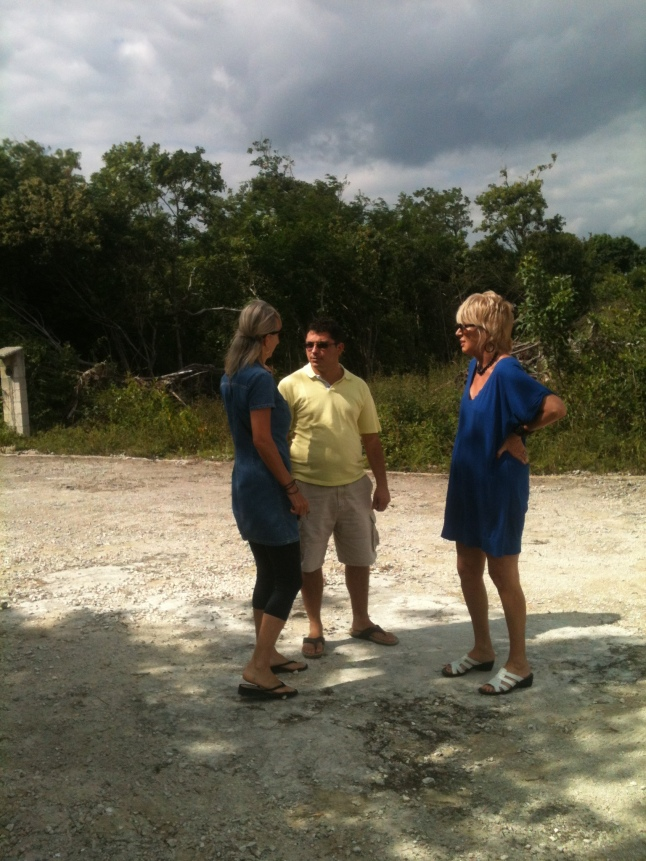 Carlos, Edith, and Dianne discussing beach property.