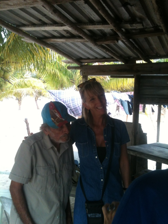 Edith Guay with old fisherman in Rio Indio.