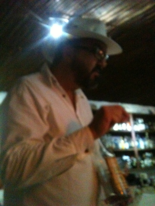 Fernando in Mahahual doing his tequila tasting lecture at his restaurant.