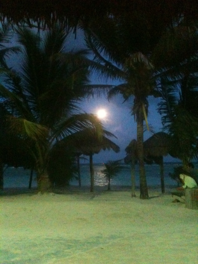 Full moon rising on the Caribbean.