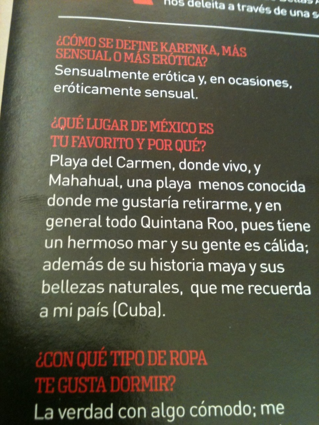 """Karenka's comments in """"H"""" magazine about Mahahual."""