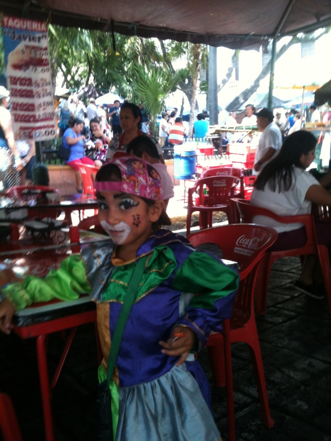 This little girl clown entertained me at lunch.
