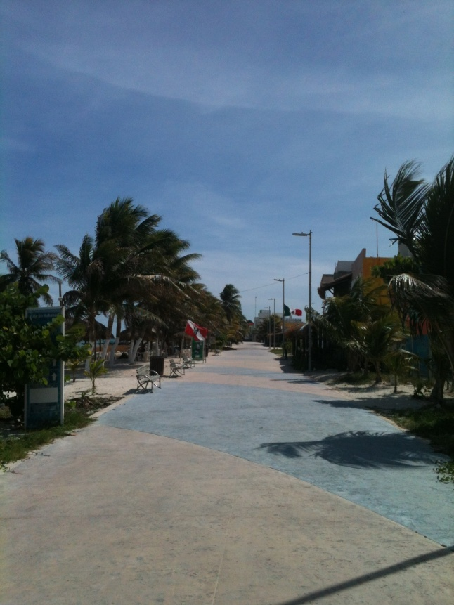 Mahahual malecon yesterday, like a ghost town.