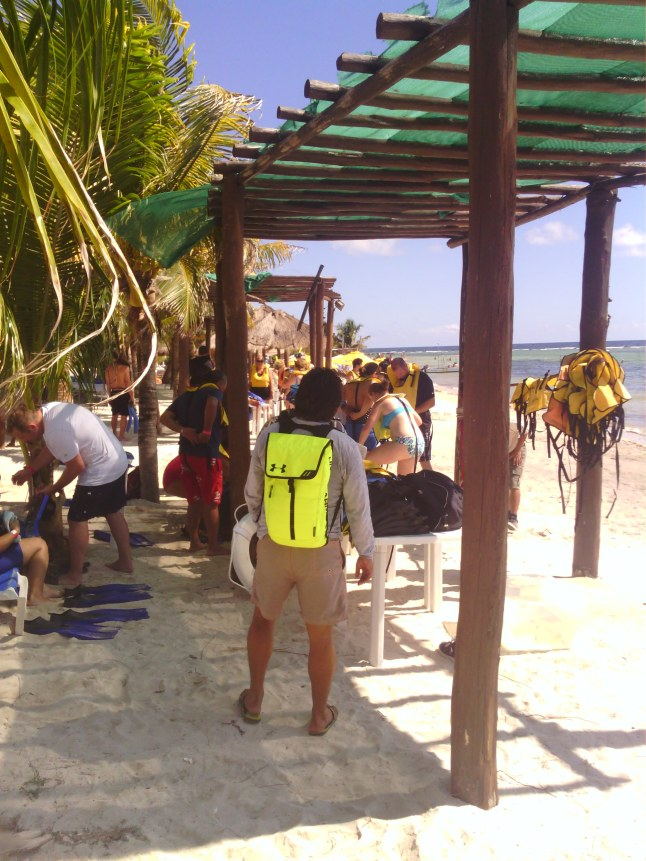 Tourists going on snorkeling tour.