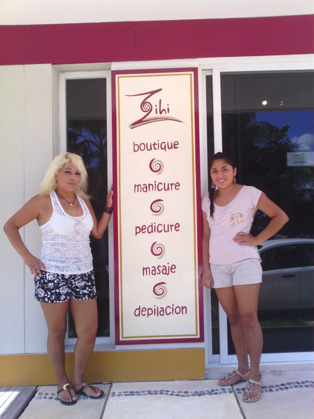 Izela Rincon and Gaby Hernadez in front of their new business Zihi spa.