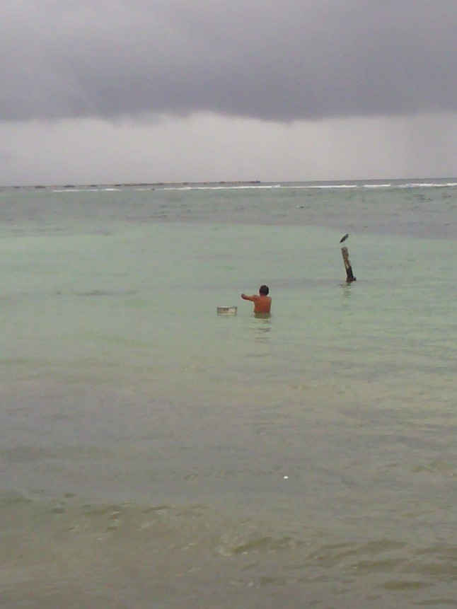 This guy is one of the shop owners on the malecon.  He takes his bucket out with him, and fills it full of fish.