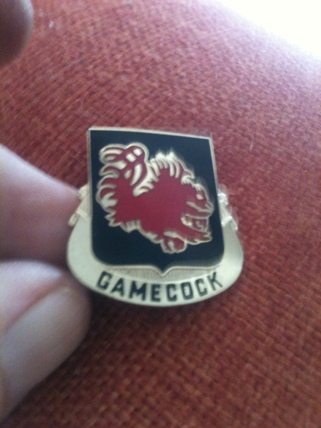 A ROTC student at the University of South Carolina gave me this Gamecock ROTC pin.