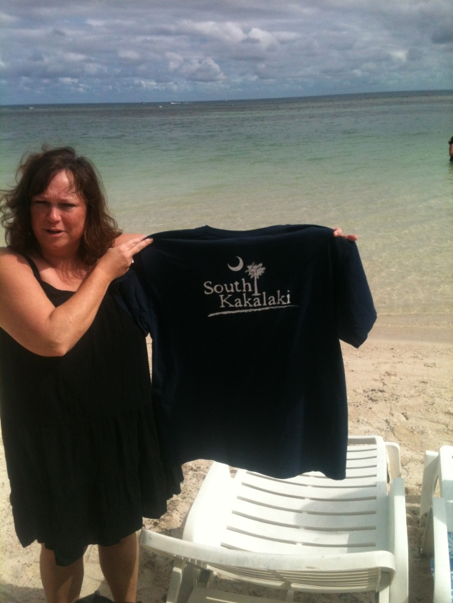 A woman on cruise ship from my hometown of Greenville, SC., showing a South Carolina shirt.