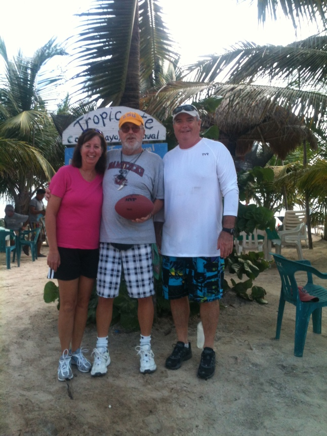 Clay and Kathy Smilie from Baton Rouge, La. and me on the beach.  They brought me a LSU hat down.