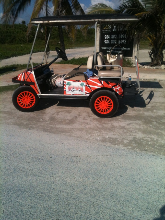 Don't ask me how a Clemson golf cart got down here, I am going to have to talk to someone at the port.
