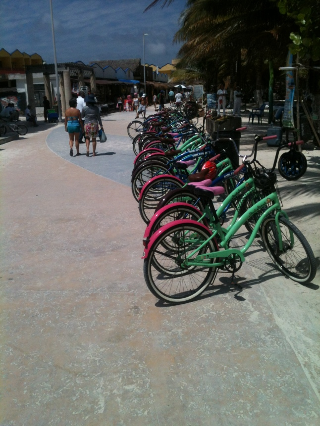 Cruise ship bike tour of Mahahual, check out all the bikes.
