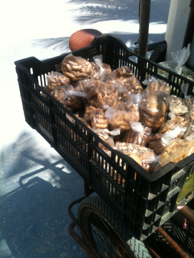 Mennonite cookies, peanuts, and other snacks for sale.