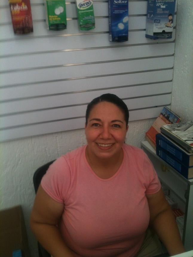 Vero Bermudez, owner and operator of Pharma Cares here in Mahahual.