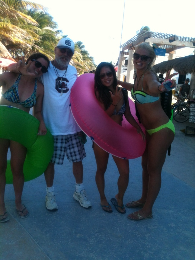 Me and three female athletes from Vanderbilt in Mahahual today on the malecon