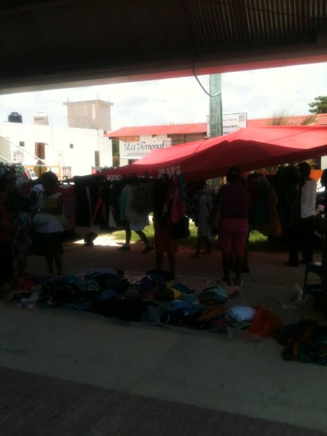 Flea market in Mahahual sports dome.