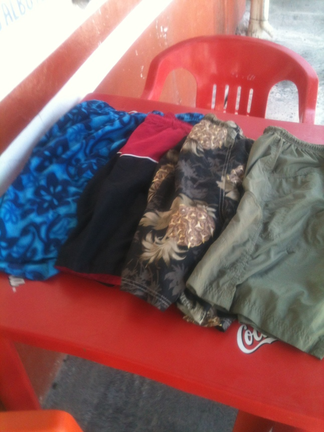 I bought 4 pair of shorts for 300 pesos, about $4 a pair.