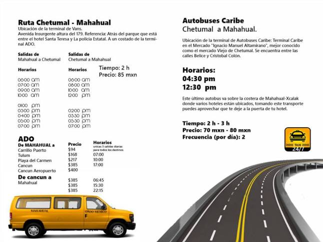 Mahahual Bus Schedule and Rates.