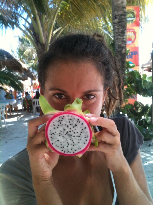 Her first pitaya in Mahahual.