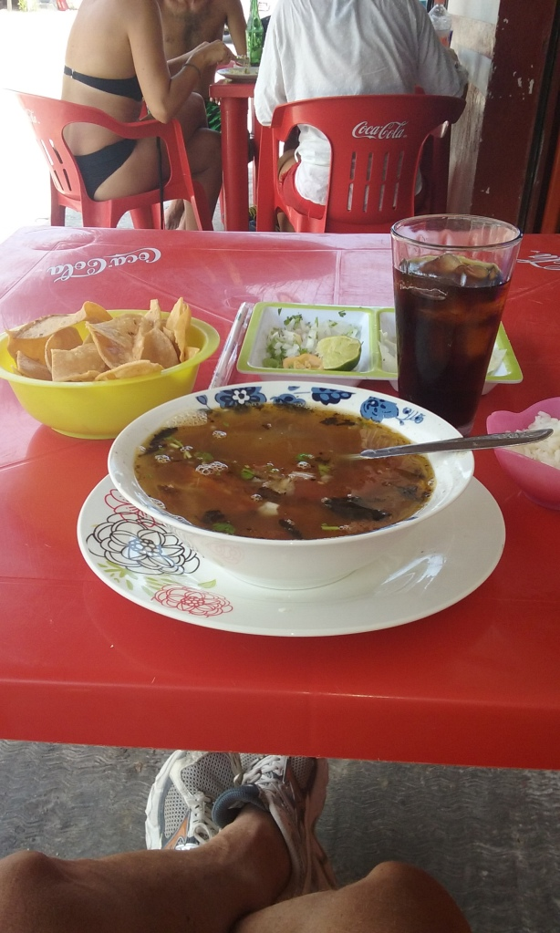 Chicken soup, caldo de pollo, at Primos, 30 pesos, good meal.