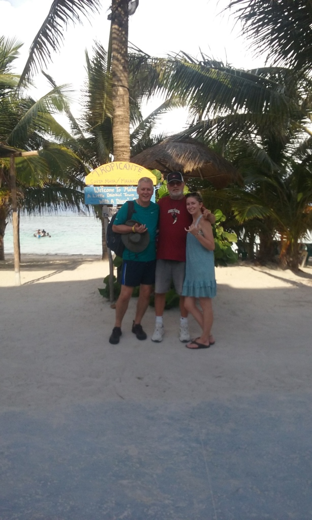 Me with Rick Robinson, and his daughter on the malecon at the Tropicante.  He is a reader of this blog, and he drove down from Rivera Maya today for the day to show his daughter Mahahual.  They are from Pine Top, Arizona, and Annika is a future University of Arizona Wildat.