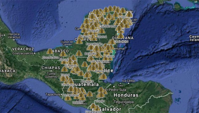 A Google map tracks nearly 300 archaeological sites related to the Maya.