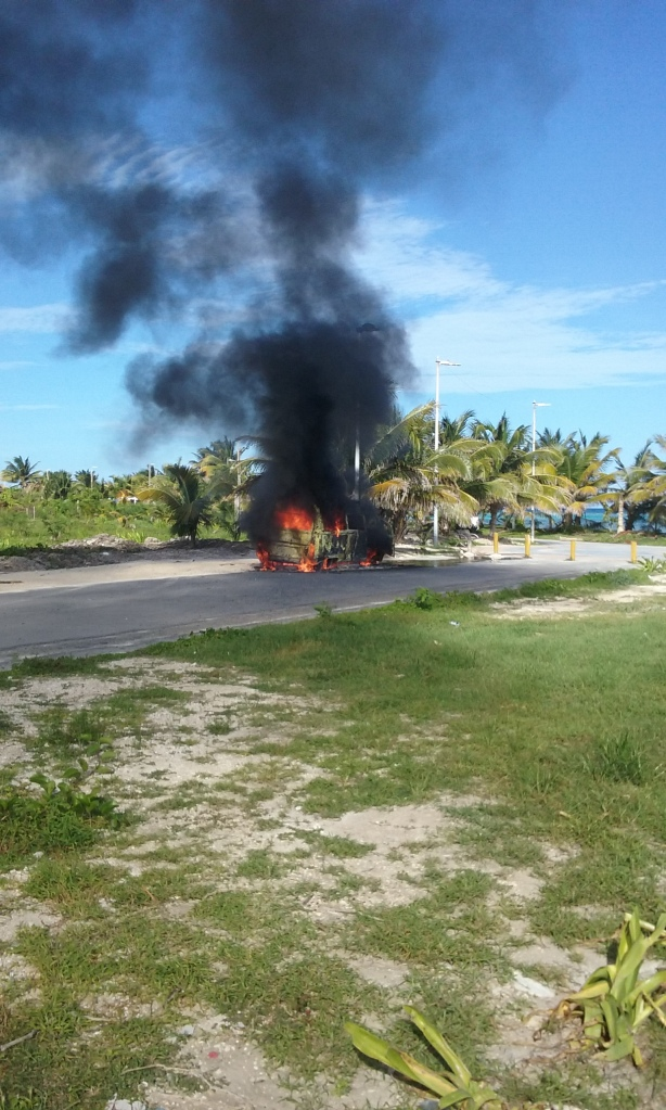 VW van on fire, right off the malecon
