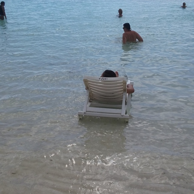 """I got my chair in the water"""