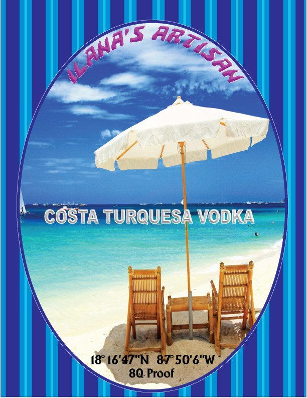 New label for Vodka being made in Xcalak.