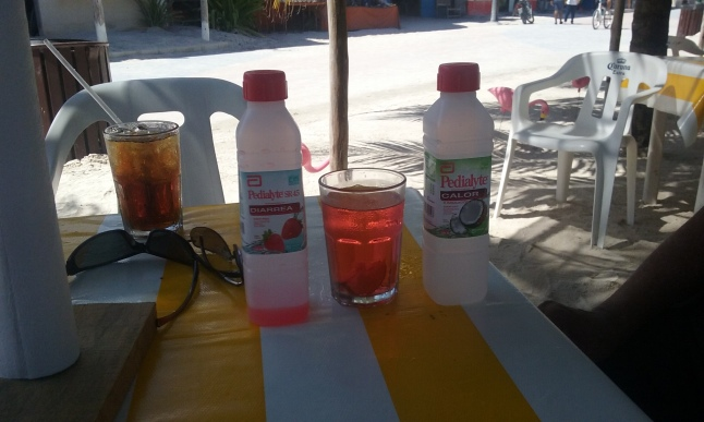 The makings of a Pediarita, Pedialyte and tequila.  This is how the an old expat here rolls.