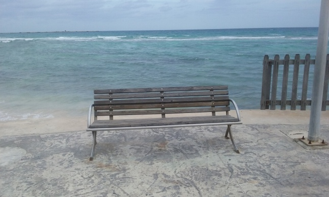 This is one of my favorite places in Mahahual, a bench at the end of the malecon at the lighthouse.
