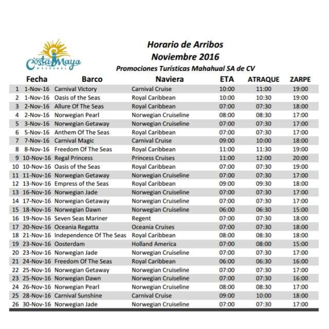 Cruise Ship Schedule For Costa Maya November 2016  Costa