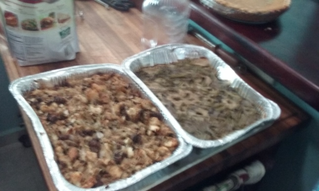 Stuffing and green bean casserole.