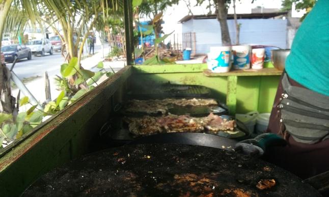 My tacos arabe being prepared.