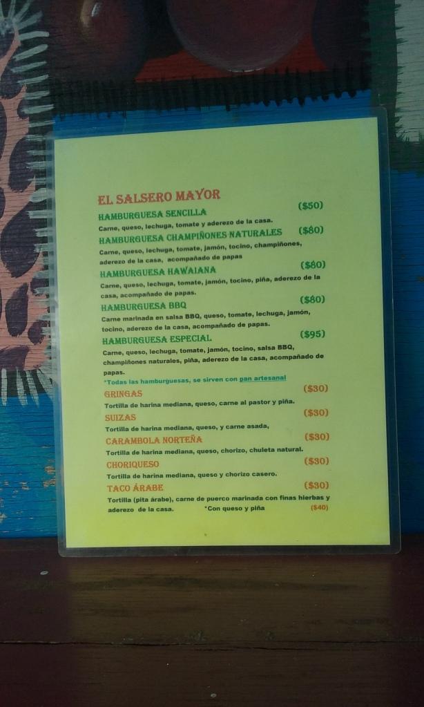 Menu for El Salsero Mayor.