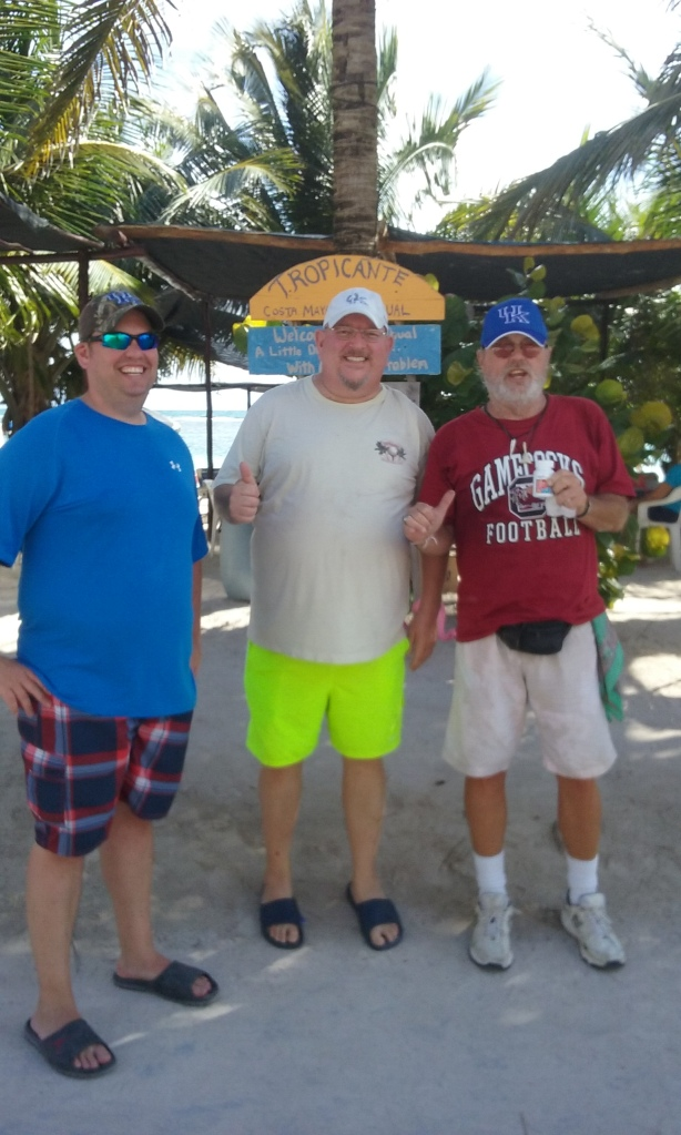 Me with Steve and Dan from Lexington, Kentucky.  They brought me a Kentucky hat, and some Tylenol PM.