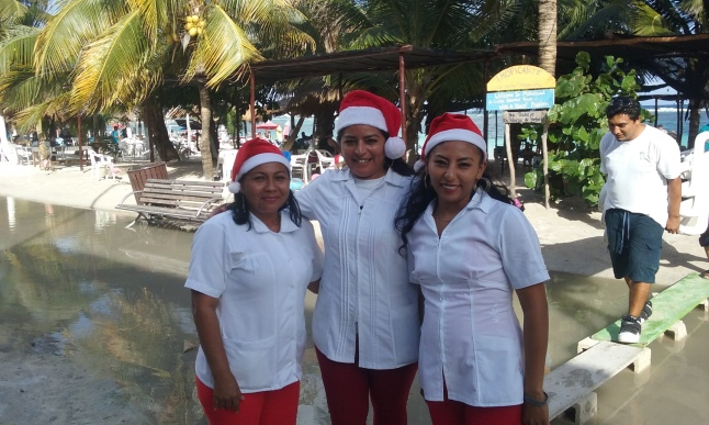Tropicante massage girls in their Christmas outfits.