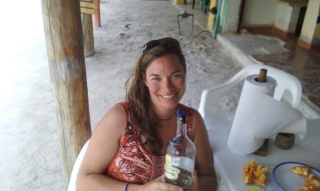 Victoria with a bottle of Compadre agave..