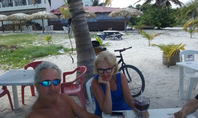 Lilli and her husband Roger on the beach.  2 French canadians in mahahual.