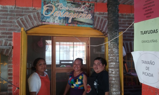 The women from Oaxaca, in front of their kitchen.